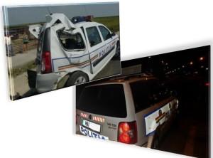 masina politie distrusa